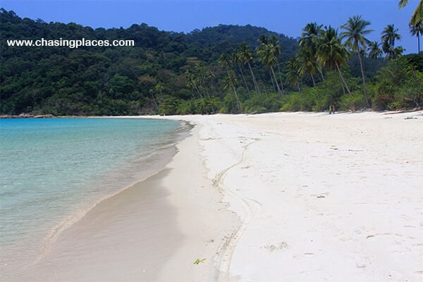 The isolated, beautiful beach near our resort on Pulau Redang