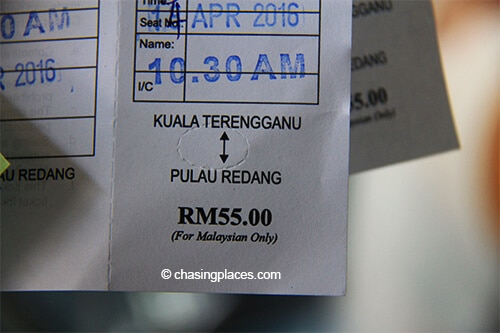 The official ferry ticket to Pulau Redang
