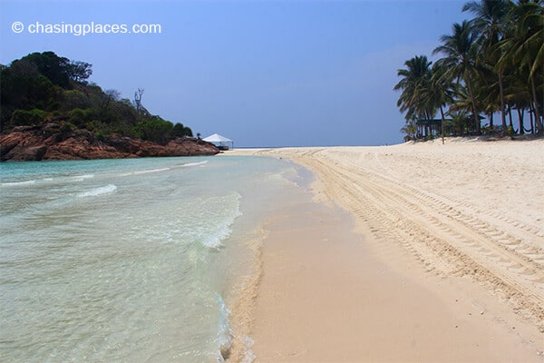 The rocky midpoint of Long Beach, Pulau Redang.