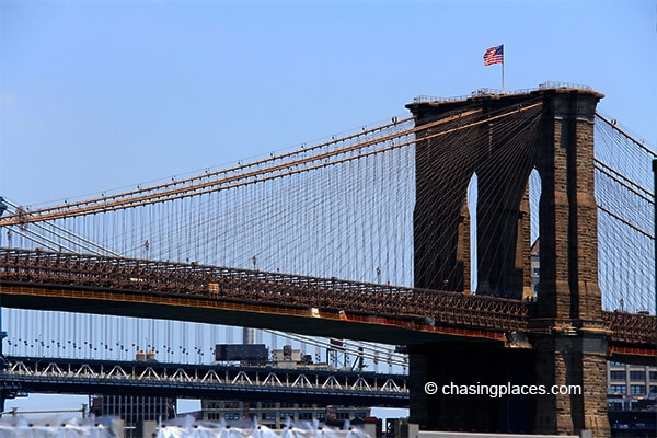 A small section of the Brooklyn Bridge
