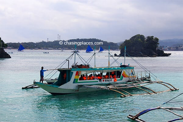 A bangka the boat that is used to transport visitors to and from boracay