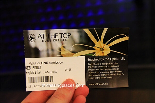 The official entry ticket to the Burj Khalifa's Viewing Platform.