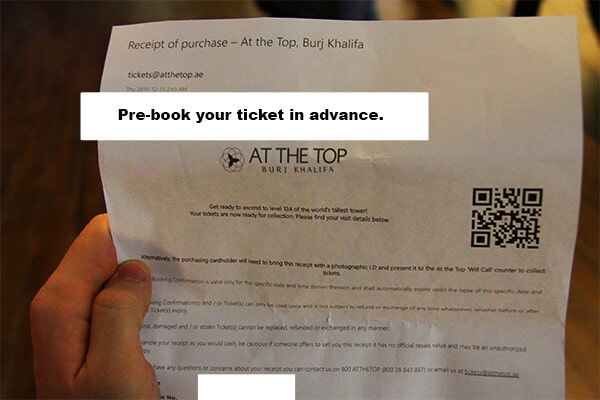 The printed ticket copy to the Burj we downloaded from the website, after booking online.