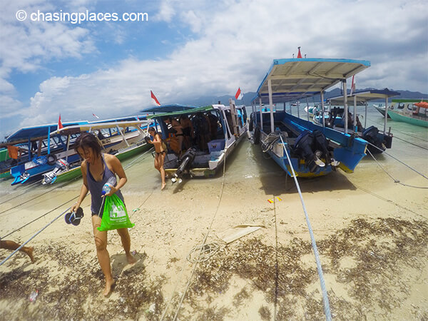 Getting off the boat to see Gili Air.