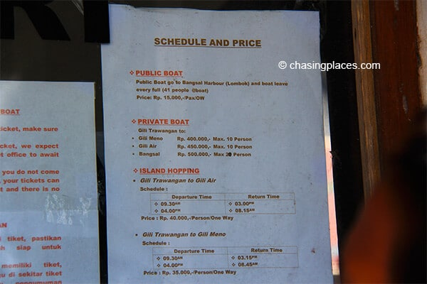 The schedule and costs of boat transfers from Gili Trawangan.